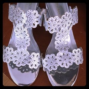 Silver slip on sandals with sparkle 7.5.